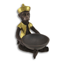 Metallic Gold Accented Servant Monkey Statue / Candy Dish - This adorable servant monkey statue doubles as a candy dish or small fruit bowl. Made of cold cast resin, the statue features hand painted metallic gold enamel accents, and has really nice detailing in his fur. The bowl in the monkey`s hands is 7 inches in diameter, and is 2 inches deep, perfect for individually wrapped candy, or even a bowlful of dates. The statue measures 12 1/2 inches tall, 8 1/2 inches wide and 10 inches deep.