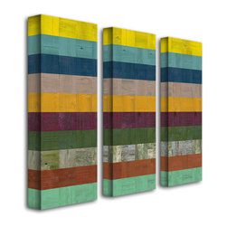 Trademark Art - Michelle Calkins Wooden Abstract II - 3 Panel - Gallery Wrapped Canvas Art. Canvas wraps around the sides and is secured to the back of the wooden frame. Frameless presentation of the finished painting. 18 in. L x 24 in. W x 2 in. D (6 lbs.)