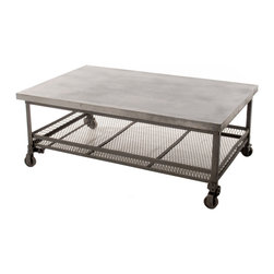 Kathy Kuo Home - Urban Mercantile Galvanized Steel Industrial Coffee Table - This chic industrial coffee table was built with a distinctly modern style. The strength of its galvanized steel top and iron base make it a willing workhorse, while the wire mesh basket underneath provides storage any urban space can use.