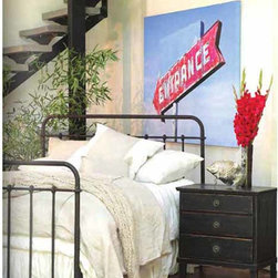 Urban France Collection   French Iron Bed On Casters - This French Iron Bed On Casters is available in Queen, King & Cal. King. This Scandinavian Swedish Gustavian Style Bed