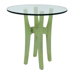 Cherry Pond Fine Furniture - Fixed Glass Table - Glass Top Tables have panache.  Great for a coffee or end table where seeing through reveals interesting floor or carpet displays.  Seeing through tends to reduce the visual impact to a very comfortable mix with the surroundings and reveal a nice view of the leg assembly.  Half inch tops are rugged tempered glass.  Perfect for displaying family pictures and other artifacts.