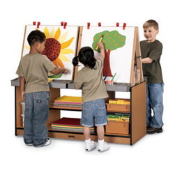 "Jonti-Craft - Jonti-Craft SPROUTZ 4 Station Art Center Childrens Easel - 0294JC340 - Shop for Art Easels from Hayneedle.com! There's plenty of room for creativity at the Jonti-Craft SPROUTZ 4-Station Art Center. The removable easels attach securely to the 100% recycled wood fiber base. This easel station comes with four paint trays clips and five spacious shelves for art supplies. Because of its ""green"" construction this art center promotes better indoor air quality and may contribute to up to five L.E.E.D. credits. Caster brackets give this art center easy mobility while adding triangular strength to corners where most stress occurs. Other special features include fully rounded KYDZSafe edges and KYDZStrong construction employing the dowel-pin technique which leaves the thickness of the material intact where most of the stress occurs. The KYDZTuff finish resists stains won't yellow cleans easily and is as tough as the coating used on gym floors. Backed by a five-year manufacturer's warranty. About Jonti-CraftFamily-owned and -operated out of Wabasso Minn. Jonti-Craft is a leading provider of quality furniture for the early learning market. It offers a wide selection of creatively designed products in both wood and laminate materials. Its products are packed with features that make them safe functional and affordable. Jonti-Craft products are built using the strongest construction techniques available to ensure that your furniture purchase will last a lifetime."