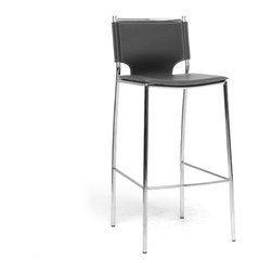 Baxton Studio - Baxton Studio Montclare Black Leather Modern Bar Stool (Set of 2) - You will enjoy the clean design of this contemporary leather bar stool. The shine of the chrome-finished steel frame contrasts beautifully with the matte black bonded leather of the seat, both hallmarks of the Montclare design. The edges of the leather are finished with a single line of stitching in a contrasting cream shade. Small black plastic non-marking feet are included to protect your floor. The modern bar chair works equally well in a commercial setting as a lobby bar stool, lounge bar stool, or restaurant bar stool. The Montclare Stool is fully assembled and is made in China. To clean, wipe with a damp cloth. also available (sold separately) are matching counter stools and each are also offered in brown leather.