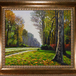 overstockArt.com - Monet - The Road to Bas-Breau, Fontainebleau Oil Painting - Hand painted oil reproduction of a famous Monet painting, The Road to Bas-Breau, Fontainebleau. Originally created in 1865. Today it has been carefully recreated detail-by-detail, color-by-color to near perfection. Why settle for a print when you can add sophistication to your rooms with a beautiful fine gallery reproduction oil painting? While Monet successfully captured life's reality in many of his works, his aim was to analyze the ever-changing nature of color and light. Known as the classic Impressionist, Monet cannot help but inspire deep admiration for his talent in those who view his work. This work of art has the same emotions and beauty as the original. Why not grace your home with this reproduced masterpiece? It is sure to bring many admirers!