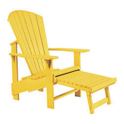 C.R. Plastic Products - C.R. Plastics Adirondack Upright In Yellow - Can be used for residential or commercial use, Ergonomically designed, Heavy 78 gauge plastic lumber 12 used by competitors, All stainless steel hardware, No painting, No slivers, No Rot, Completely waterproof