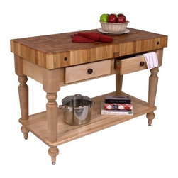 "John Boos - American Heritage Rustica Kitchen Island with Butcher Block Top - Features: -Solid hard maple construction.-American Heritage collection.-Please Note: John Boos products with a varnique finish require a John Boos cutting board during food preparation to prevent damage to the finish.-Product Type: Kitchen island/work table.-Collection: American Heritage.-Counter Finish: Hard rock maple, boos block cream with beeswax finish.-Hardware Finish: Zinc coated.-Distressed: Yes.-Powder Coated Finish: No.-Gloss Finish: Yes.-Base Material: Maple.-Counter Material: Hard rock maple.-Solid Wood Construction: Yes.-Stain Resistant: No.-Warp Resistant: No.-Drawers Included: Yes -Number of Drawers: 1.-Number of Drawers: 2.-Push Through Drawer: No.-Drawer Glide Extension: Yes.-Dovetail Joints: Yes.-Drawer Dividers: No.-Drawer Handle Design: Wooden round drawer pull..-Cabinets Included: No.-Towel Rack: No.-Pot Rack: No.-Spice Rack: No.-Cutting Board: Yes.-Drop Leaf: No.-Drain Groove: No.-Trash Bin Compartment: No.-Stools Included: No.-Wine Rack: No.-Stemware Rack: No.-Cart Handles: No.-Finished Back: Yes.-Commercial Use: Yes.-Recycled Content: No.-Eco-Friendly: No.-Product Care: Wipe with mild soap & water.-Country of Manufacture: United States.Dimensions: -Two dovetailed drawers (only 1 with 30'' W table).-Overall Height - Top to Bottom: 34.5"".-Overall Depth - Front to Back: 24"".-Width Without Side Attachments: 30"".-Height Without Casters: 34.5"".-Countertop Thickness: 4"".-Countertop Width - Side to Side: 30"".-Countertop Depth - Front to Back: 24"".-Shelving (Size / Shelves: 30"" W x 24"" D / 1 Included): Yes.-Shelving (Size / Shelves: 30"" W x 24"" D / Not Included): No.-Drawer: Yes.-Cabinet: No.-Stool: No.Assembly: -Assembly Required: Yes.-Tools Needed: Ratchet.-Additional Parts Required: No.Warranty: -Product Warranty: 1 year limited warranty on workmanship and material."