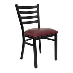 Flash Furniture - Flash Furniture Hercules Series Ladder Back Metal Chair in Burgundy - Flash Furniture - Dining Chairs - XUDG694BLADBURVGG - Provide your customers with the ultimate dining experience by offering great food, service and attractive furnishings. This heavy duty commercial metal chair is ideal for restaurants, hotels, bars, lounges, and in the home. Whether you are setting up a new facility or in need of a upgrade this attractive chair will complement any environment. This metal chair is lightweight and will make it easy to move around. For added comfort this chair is comfortably padded in vinyl upholstery. This easy to clean chair will complement any environment to fill the void in your decor. [XU-DG694BLAD-BURV-GG]
