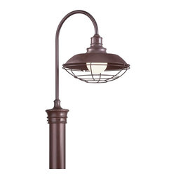 "Troy - Circa 1910 Collection 20 1/2"" High Outdoor Post Light - A rugged look inspired by early 20th century industrial lighting designs this outdoor post light adds a new dimension to your wide-open spaces. Ideal for walkways or near driveway areas it features an old rust finish over a hand-forged and cast iron frame and wall plate. A classic wire mesh encloses the bulb. Post mount style. Pole not included. Takes one 100 G40 watt bulb (not included). Measures 20 1/2"" high and 12"" wide. Extends 17"" from the center post.  Old rust finish.  Takes one 100 watt globe bulb (not included).  Pole not included.  12"" wide.  20 1/2"" high.  Extends 17"" from the center post."