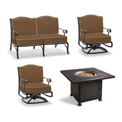 Frontgate - Orleans 4-pc. Outdoor Loveseat Set with Fire Pit Table, Patio Furniture - Set includes: one Orleans Loveseat with Cushions, two Orleans Swivel Lounge Chairs with Cushions, one Orleans Fire Chat Table. Solid cast 100% ingot aluminum frames, a premium quality material. Hand-filed welds. Rust-resistant powdercoated frames with UV protected top coat. All-weather chocolate powdercoated finish. Enjoy the ambiance and warmth of firelight with our Orleans 4-piece Loveseat Set with Fire Table. The elegant sensibilities of French Quarter architecture are now realized in a solid cast aluminum collection with a remarkable presence. An exceptional level of craftsmanship is reflected in the crescendo of scrolls that flow from curving arms to chair backs. . . . . . Cushions included. 100% solution-dyed and woven fabrics. All-weather cushions have a high-resiliency foam core wrapped in plush polyester. Solid cast 100% ingot aluminum with hand-filed welds. . Gas-powered table (42,000 BTUs). 8 ft. heating radius keeps all guests toasty. 18-hour run time. Fully adjustable flame settings, from low to high. Fuel type: 20 lb. LP gas tank (not included). CSA approved for safety. Assembly required.