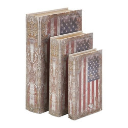 iMax - American Flag Book Boxes, Set of 3 - Old glory: Linen covers wrap a trio of book boxes in a varying sizes in red, white and blue.