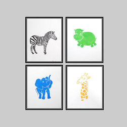 Safari Quad Posters, Set A by Fenhood - These whimsical wood block prints are a perfect quad. I'm earmarking these for the next baby shower I attend!