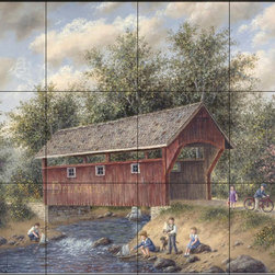 The Tile Mural Store (USA) - Tile Mural - Boating Near Delafield - Dl - Kitchen Backsplash Ideas - This beautiful artwork by Dennis Lewan has been digitally reproduced for tiles and depicts a coverage bridge over a stream with children playing nearby  Waterview tile murals are great as part of your kitchen backsplash tile project or your tub and shower surround bathroom tile project. Water view images on tiles such as tiles with beach scenes and Mediterranean scenes on tiles Tuscan tile scenes add a unique element to your tiling project and are a great kitchen backsplash idea. Use one or two of our landscape tile murals for a wall tile project in any room in your home for your wall tile project.