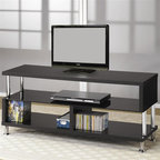 Coaster - Contemporary Chrome TV Stand - Three storage glass shelves. Shiny chrome metal legs and accent supports. Slick Black finish. 48 in. W x 18 in. D x 17.25 in. H. WarrantyThis cool contemporary media console will add a sophisticated look to your living room, plus tons of convenient media storage solutions.