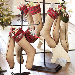 Ballard Designs - Suzanne Kasler Burlap & Red Plaid Stocking - Dry clean. Imported. This festive stocking by Suzanne Kasler blends traditional red tartan plaid with natural burlap for a fresh update on a classic holiday look. Hand finished with matching plaid piping and cotton lining. Get one for every member of your family. SK Burlap & Red Plaid Stocking features:  .  *Monogramming available for an additional charge.*Allow 3 to 5 days for monogramming plus shipping time.*Please note that personalized items are non-returnable.