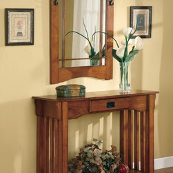 Coaster - Oak Transitional Console Table - Mission style table and mirror with sturdy construction and design.