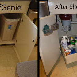 ShelfGenie Glide-Out Shelves Before & After - Explore our under-sink storage options, including a pull out trash bin.  ShelfGenie pull out shelves and accessories are custom made to fit your existing cabinets.