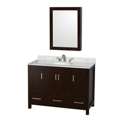 Wyndham Collection - Wyndham Collection WCS141448SES Sheffield 48-in. Single Bathroom Vanity Set with - Shop for Bathroom Cabinets from Hayneedle.com! Once you add the Wyndham Collection WCS141448SES Sheffield 48-in. Single Bathroom Vanity Set with Medicine Cabinet- Espresso to your bathroom remodel you're practically finished. A versatile form and elegant white finish makes this vanity and medicine cabinet set an easy and stylish way to make your washroom into a relaxing and functional space. The wide cabinet of this vanity is crafted from solid wood that's put through a 12-step preparation and finishing process that results in a warp-free moisture-resistant body with a low-VOC finish and shape that's designed for freesanding use. The wide vanity top and undermount sink are offered in multiple materials and finishes giving you further ability to customize this handsome piece. You even have the choice of leaving off the sink or vanity top if you have a different sink or surface in mind. A matching medicine cabinet gives you three shelves of storage behind a thick beveled-edge mirror that's going to give you the function that every bathroom needs. Below the vanity top there's plenty of storage with an open compartment behind four tall doors. Below the open storage is a trio of pull-out drawers that feature deep doweling and fully extendable glides that let you use every inch of storage space those drawers provide. Both the drawers and doors open with brushed chrome metal hardware and close silently on self-closing soft-touch latches.Product Dimensions:Vanity dimensions with top: 48W x 22D x 35H in.Medicine cabinet dimensions: 24W x 6.25D x 33H in. About the Wyndham CollectionWyndham and the Wyndham collection are all about refinement detailing uniqueness quality and longevity. They are dedicated to the quality of their products and own the factory where each piece is constructed. This allows Wyndham to offer products that reflect the rigorous quality standards requir
