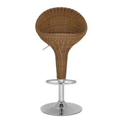 "Safavieh - Nordika Barstool - With backbone and lots of character, the full support of the beautifully crafted Nordika Barstool makes it a modern masterpiece. Constructed with brown faux wicker and chrome, It's ideal for modern or traditional interiors in need of texture and warmth. Nordika's swivel seat adjusts from 23.2"" to 31.7""."