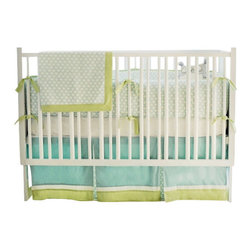 "Sprout Crib Baby Bedding Set 3 Piece Set - The two piece baby bedding crib set includes a crib sheet and a 17"" tailored skirt. Three piece set includes bumper, sheet and skirt. Bumper is slip covered for easy cleaning. Make it a four piece set by including a coordination blanket."