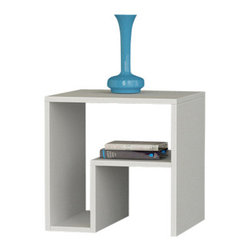 Matte / Decortie - MALKOVIC SIDE TABLE, White - Unusual and stylish, the Malkovi̤ Coffee and Side Table is a practical, contemporary home addition. Unlike most standard coffee tables, this piece offers a clever shelving unit below the table surface to help with storage needs. Finished in white and wenge colors.