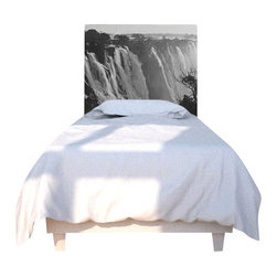 NOYO - Victoria Falls Headboard, Twin - Talk about falling asleep! This remarkable headboard is comprised of a cedar frame with a machine washable slipcover that you can change to suit your whim. Tonight, the spectacular beauty and grandeur that cascades on the Zambezi River; next week, whatever you dare to dream of!