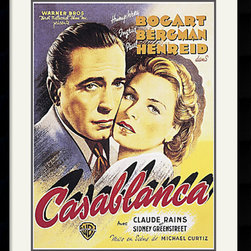 Amanti Art - Casablanca Framed Print - Begin a beautiful movie poster collection with this Casablanca print featuring Humphrey Bogart and Ingrid Bergman. Ranked number one in the American Film Institute's 100 Greatest Love Stories of All Time list, Casablanca is a timeless classic that also gave birth to the famous quotes. Here's looking at you, kid. We'll always have Paris and Louis, I think this is the beginning of a beautiful friendship.