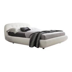 Rossetto - Rossetto Eclipse Leather Effect Platform Bed in White-King - Rossetto - Beds - T286611375N01 - Characterized by delicate stitching the Eclipse bed tells a contemporary style.