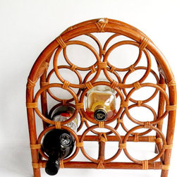 Vintage 1960s Bamboo Wine Rack by Loverly Vintage - Give your wine somewhere groovy to hang out with this great vintage 1960s wine rack. The shape of this is nice enough to stand on its own as a decorative object too.
