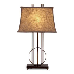 Bassett Mirror - Whythe Table Lamp - This unique, transitional table lamp features a beige, textured, rectangular shade and is complimented by a crystal base with a clear finish.