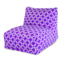 Majestic Home - Indoor Purple Links Bean Bag Chair Lounger - The beanbag is back — and now it's got a back, so you can really relax in style. Beyond comfort, this lounger has a cool chain pattern on cotton twill to look fabulous in your favorite modern setting.