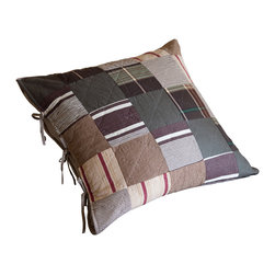 Taylor Linens - Watson Brown Patchwork Euro Sham - This charming pillow sham looks like a vintage original, but it's brand new and fashioned from easy-care, machine-washable cotton. Plaids, stripes and tweeds are combined in a quilted patchwork pattern — complete with ticking stripe ties — for a casual, country look that never goes out of style.