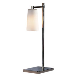 Robert Abbey - Rico Espinet Nina Table Lamp, Polish Nickel - With this sleek and stylish lamp on your table, you'll be able to light the room with refinement. The polished nickel finish of the frame adds shine to your decor, and the frosted white cased glass shade is oh-so-elegant.