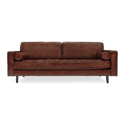 Freeman Sofa, Distressed Brown Leather - Our ode to mid century modern American furniture, the Freeman creates a striking statement in any room. A great investment for a chair with timeless design. Two side cushions included as pictured.