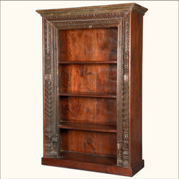 Gothic Hand Carved Reclaimed Wood 4-Shelf Open Display Bookcase - A single piece of furniture can set the tone and make a statement about your sophistication and style. Our Gothic Hand Carved 4-Shelf Bookcase is a classic.