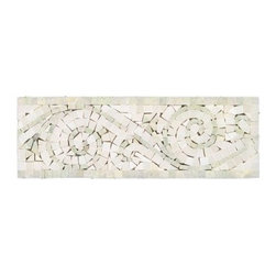 All Marble Tiles - Ming Green - Thassos White Polished Marble Art Border 4x12 - Ming Green - Thassos White Polished Marble Art Border 4x12