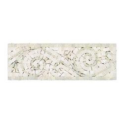 All Marble Tiles - Ming Green - Thassos White Polished Marble Art Border 4x12 - Ming Green - Thassos White Polished Marble Art Border 4x12