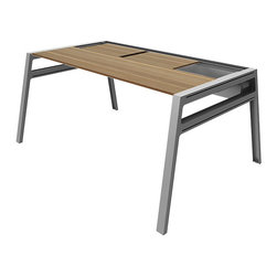 Turnstone - Bivi Table with Back Pocket - The Bivi Table with Back Pocket is a modern, modular desk that can be easily added onto with an extra top (not included) to create a desk for two. The Bivi Table is MDF with powder-coated steel base and hardware, and features a back pocket for hidden desktop storage.
