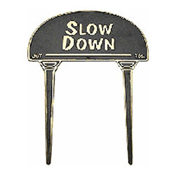 Renovators Supply - Garden Signs Polished Brass Garden Sign Outdoor Plaque Slow Down | 17136 - Garden Sign, Outdoor Plaque. Politely let people know they need to slow down. Made of 100% brass each is polished and lacquered to resist tarnishing and will provide a lifetime of good use. A wonderful gift idea.