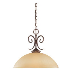 Designers Fountain - Designers Fountain Belaire Traditional Pendant Light X-BUA-23399 - Clean, contemporary and yet, somehow traditional. This Designers Fountain pendant light will easily compliment a casual space or a formal space. It features a warm Venetian scavo glass shade that compliments the rich tones of the Aged Umber Bronze finish.