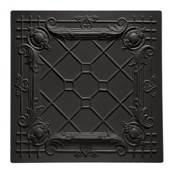 "Bentley Ceiling Tile - Black - Perfect for both commercial and residential applications, these tiles are made from thick .03"" vinyl plastic. Their lightweight yet durable construction make these tiles easy to install. Waterproof, these tiles are washable and won't stain due to humidity or mildew. A perfect choice for anyone wanting to add that designer touch at an amazing price."