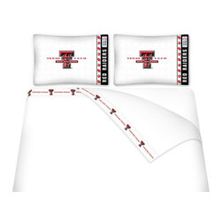 Sports Coverage - Sports Coverage NCAA Texas Tech Red Raiders Microfiber Hem Sheet Set - Queen - NCAA Texas Tech Red Raiders Microfiber Hem Sheet Set have an ultrafine peach weave that is softer and more comfortable than cotton. Its brushed silk-like embrace provides good insulation and warmth, yet is breathable.   The 100% polyester microfiber is wrinkle-resistant, washes beautifully, and dries quickly with never any shrinkage. The pillowcase has a white on white print beneath the officially licensed team name and logo printed in vibrant team colors, complimenting the new printed hems.    Features: -  Weight of fabric - 92GSM ,  - Soothing texture and 11 pocket,  -  100% Polyester,  - Machine wash in cold water with light colors,  - Use gentle cycle and no bleach ,  - Tumble-dry,  - Do not iron ,
