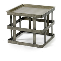 Go Home - Banded Industrial Steel Side Table - Our Vintage Industrial Collection is the definition of urban chic. Reclaimed wood, rusted iron and time worn accents insure that our unique collection of furniture, accessories and lighting will take center stage in any style of decor. Mix and match with our Rural Chic and Lodge Collections for a stylish eclectic look your friends will think you paid a designer for.