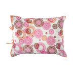 """Rhadi Living - Medallion Pillow Sham 20x26"""" Pink/Orange - Inspired by ikat and medallion block prints, this medallion, ikat and zig zag design repeats randomly over a great expanse of white in two color ways.  The print catches your eye as you try to follow the mesmerizing patchwork and repeat. Each quilt and sham is handmade, hand printed with cotton voile and cotton batting. Machine wash cold separately, delicate cycles, tumble dry low, do not bleach, iron at medium setting if necessary."""
