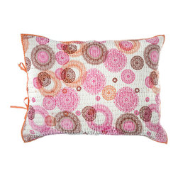 "Rhadi Living - Medallion Pillow Sham 20x26"" Pink/Orange - Inspired by ikat and medallion block prints, this medallion, ikat and zig zag design repeats randomly over a great expanse of white in two color ways.  The print catches your eye as you try to follow the mesmerizing patchwork and repeat. Each quilt and sham is handmade, hand printed with cotton voile and cotton batting. Machine wash cold separately, delicate cycles, tumble dry low, do not bleach, iron at medium setting if necessary."