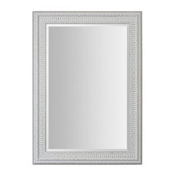 Uttermost - Salima White Mirror - Frame features a lightly distressed, white wash finish with rustic black undertones. Mirror is beveled. May be hung horizontal or vertical.