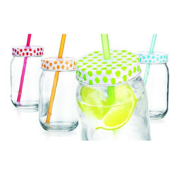 Home Essentials - Assorted Colors Polka Dotted Mason Jar Sippers - Surprise your guests and have some fun with our new and original colorful mason jar tumblers! These adorably chic mason jars with decorative lids are perfect for indoor and outdoor entertaining and make a wonderful addition to children's birthday celebrations. Try it for sparkling punch, sweet tea, fresh mineral water and more. Even the tidy hostess will appreciate a refreshing beverage from these charming mason jars.    * Set of 4  * Capacity: 16 oz  * Complete with lids and straws