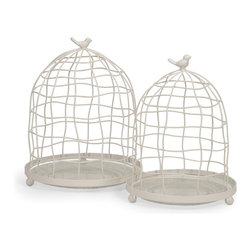 Bird Cage Glass and Metal Cloche - Set of 2 - *This set of two wire cloches feature glass bases for displaying an endless array of items, from miniature potted herbs to collectible accents.