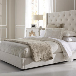 Wingback Button Tufted Cream Queen Size Upholstered Bed -