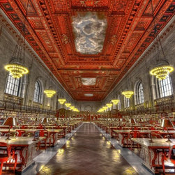 """""""New York Public Library Hdr"""" Artwork - The main reading room of the ny public library done in hdr. the photo was taken before the library opened, not a single person is in the room."""