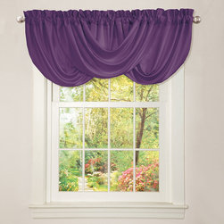 Lush Decor - Lush Decor Lucia Purple Valance - Hand-constructed dramatic draping with soft brushed poly fabric and prominent header details highlight this lovely Lush Decor Lucia valance. The elegant design and color of this valance will turn an ordinary window into a stunning window.
